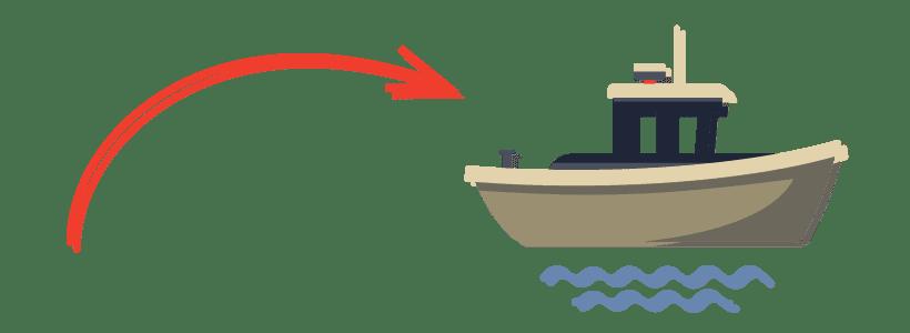 subirse al barco - flecha apunta a un barco