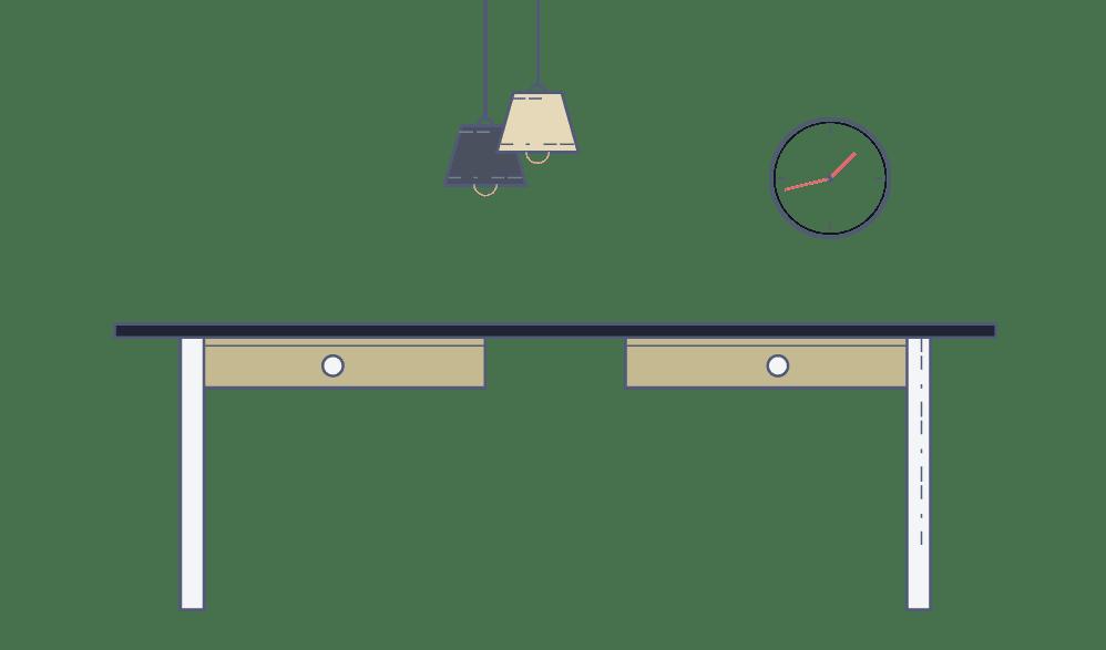 mejorar el lugar de trabajo - Escritorio con lámparas colgantes y reloj