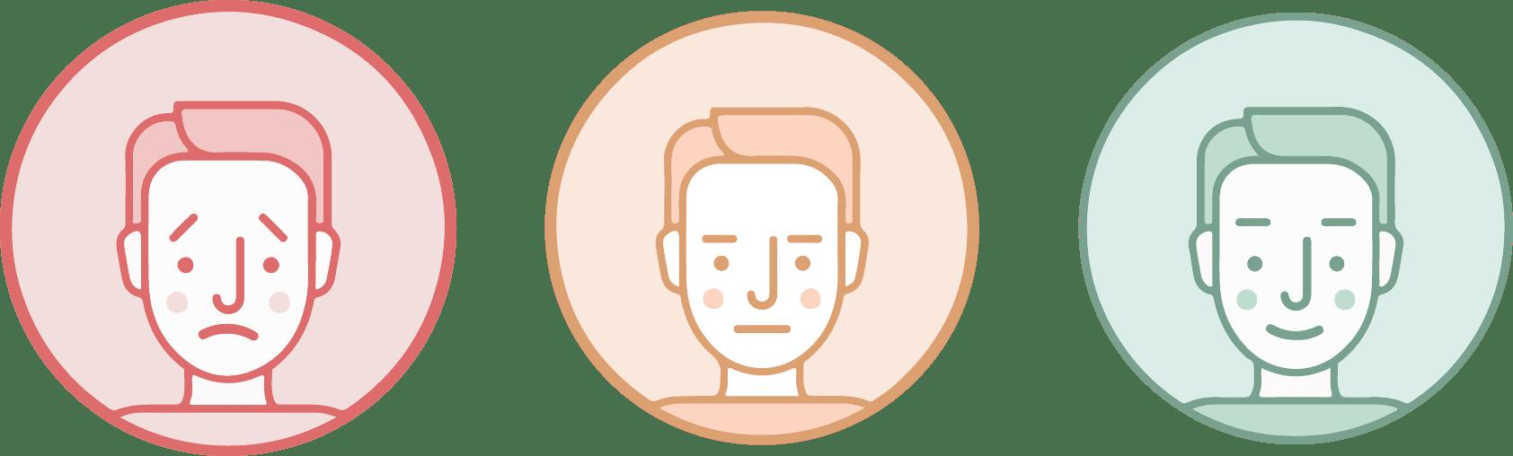 caras representando satisfacción con la organización